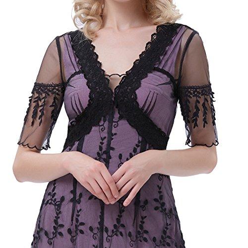 Belle Poque Spitzenkleider Lang Vintage Kleid 1/2 Arm V Ausschnitt Kleid BP247-1