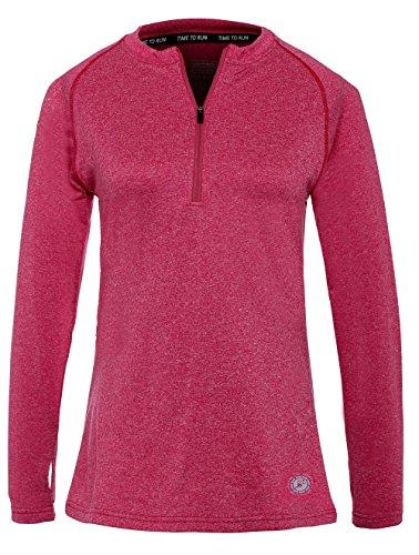Time to Run LeichtgewichtigesThermo-Lauf-T-Shirt für Damen mit Reißverschluss 40 Cerise Rosa Pink (Thermo Lauf Shirt)