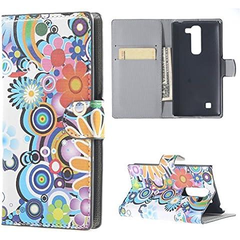 LG G4C Custodia Flip,in Pelle Protettiva Custodia Wallet Cover Portafoglio Custodia per LG Magna(5 Pollici)/LG G4C Flip Folio Cover Caso Casi Con carte di credito slot(Fiore colorato)