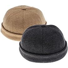 Homyl 2pcs Gorro de Hombre Mujer Unisex Estilo Retro Sombrero de Pescador  Marinero Color Sólido b1f23e7a78d