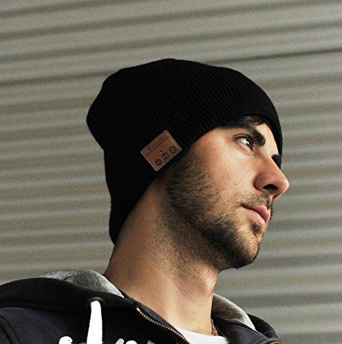 Sharon Music Headset Beanie Bluetooth | Mütze Funkkopfhörer Stereo-Lautsprecher-Mikrofon Wireless Cap | kompatibel mit Smartphone | Schwarz