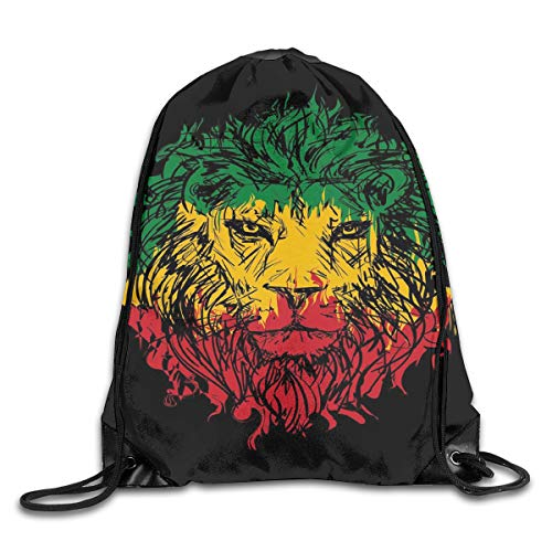EELKKO Drawstring Backpack Gym Bags Storage Backpack, Ethiopian Flag Colors On Grunge Sketchy Lion Head with Black Backdrop,Deluxe Bundle Backpack Outdoor Sports Portable Daypack Deluxe Lion Head