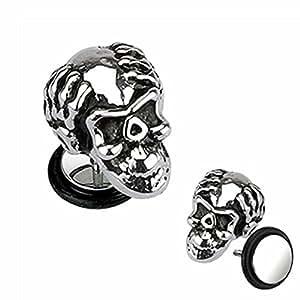 FORESTEEL Bijoux Paire d'hommes en acier inoxydable 316L Casted Ape Skull Faux plug avec O-Ring