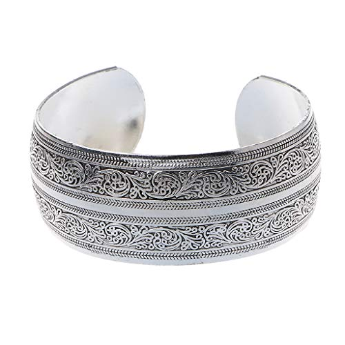 Simplelife vintage argento tibetano intagliato largo polsino braccialetti bracciali gypsy etnico fortunato totem fiore vecchio braccialetto gioielli unisex