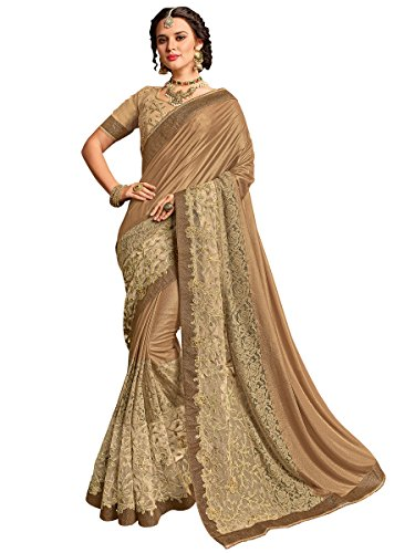 Indian Women golden and beige color lycra pattern Saree