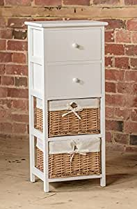 Tall White Wooden Wicker And Drawer Storage Unit Amazon