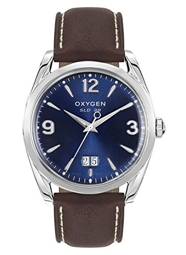 Oxygen–Montre Homme Acier–Cadran Bleu–Bracelet en Cuir Marron–Sport 38Grant–l-s-gra-38