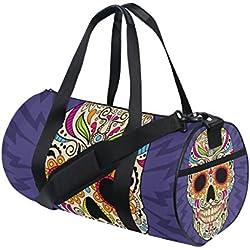 TIZORAX Bolsa de Duffle tambor calavera mexicana gimnasio bolsa de viaje fitness