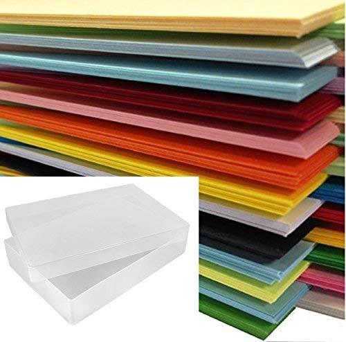 DIN A4-Papier, farbig, 500Blatt in einer durchsichtigen Kunststoff-Aufbewahrungsbox von Weston® -25x verschiedene Farben