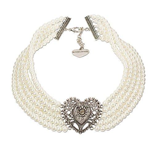Schmuck Perlen Trachten (Alpenflüstern Perlen-Trachten-Collier Louise - Trachtenkette mit Trachtenherz - Damen-Trachtenschmuck Dirndlkette creme-weiß)
