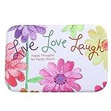 iLove EU Fußmatte, Sauberlaufmatte, Türmatte, Fußabtreter, Fußabstreifer Korallen Samt 40cm x 60cm - Bunte Blumen Live Love Laugh (Weiß)