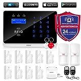 ERAY WM3FX Sistema de Alarma WiFi + gsm/ 3G, Alarmas para Casa, Antirrobo, Inalámbrico, App Gratuita, Servicio + Garantía, Multi-Accesorios y Pilas Incluidas, Voz y LCD Pantalla en Castellano, 433MHz