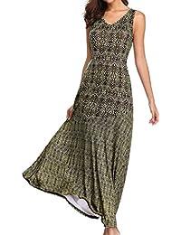 7c2484aa0d Jacansi Women Boho V Neck Patchwork Sleeveless Evening Party Jersey Maxi Dress  UK 8-18