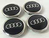 Set von 4 Radkappen Audi Leichtmetallrad Badges Central Schwarz 69 mm 4B0601170A S3 S4 A2 A3 A4 A6 A8 TT RS4 Q5 Q7, S3 S4 S6 RS6 TT S line alle Road und weitere Modelle
