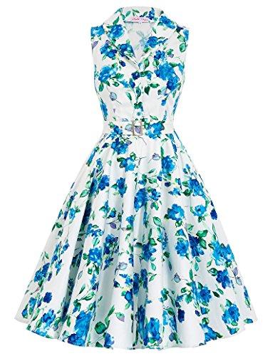 1950er Style Geburtstagkleider Knielang Sommerkleid L BP003-5