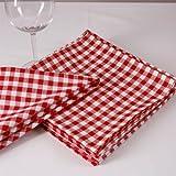 Cuadros Servilletas, 1x 1cm, algodón, muchos colores y Tamaños, durchgewebt, cuadriculado, tejida, ropa de mesa 50 x 50 cm Rot und Weiß