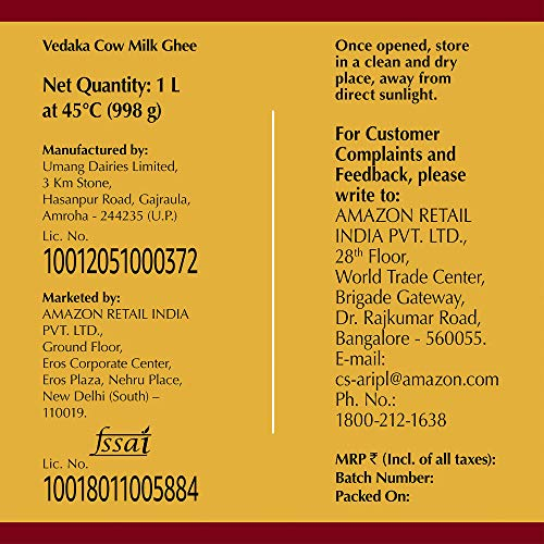 Amazon Brand - Vedaka Cow Ghee, 1 L