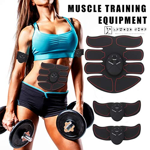 LPWORD 6 Unids Entrenador de Músculo Abdominal Eléctrico Profesional/EMS Equipo de Entrenamiento Muscular...