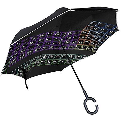 Neon Periodensystem Umgekehrter Regenschirm Reverse Auto Open Double Layer Winddichter UV-Schutz Umgedrehter Regenschirm