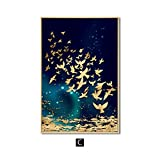 zgmtj Poisson d'or Papillon Oiseau Mur Art Toile Peinture Abstraite Moderne Décor À...