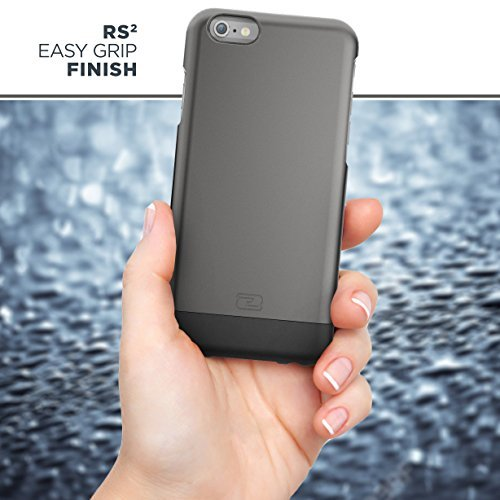 """iPhone 6S Plus Belt Case, Encased Ultra Thin (2016 SlimShield Edition) Secure-fit Holster Clip & Tough Cover (For Apple iPhone 6 Plus 5.5"""") (Smooth Black) Metallic Gray"""
