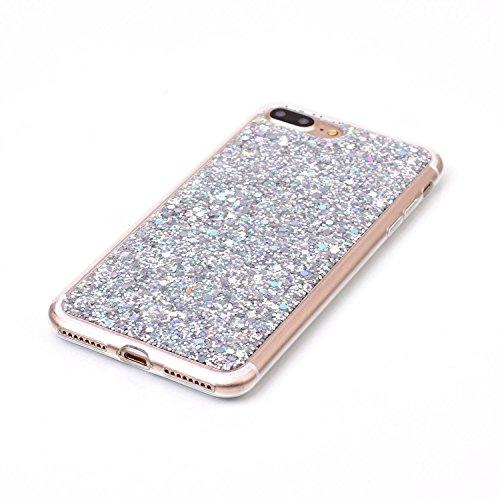 Custodia per iPhone 7 Plus / iPhone 8 Plus 5.5 Sparkling Glitter - Girlyard Morbida Silicone Case Glitter Bling Opaco Brillantini Luminosa Lucido Disegni Puro Paillettes Antiurto Sottile per Apple iP Argento