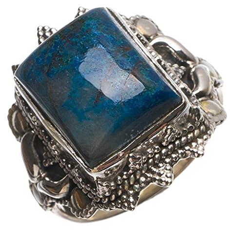 Stargems (TM) Naturel Bleu marine sodalite faite à la main Boho Bague en argent sterling 925, taille P