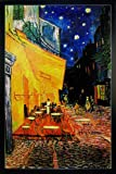 Close Up Terrasse de Cafe la nuit Poster Vincent Van Gogh (66x96,5 cm) gerahmt in: Rahmen schwarz