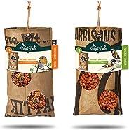 BAZA HOUSE OF SEEDS Complete set 2 stuks voederzuilen vogelbuffet voor het ophangen van gerecyclede theezakken
