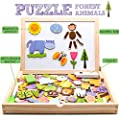 jarryvon Puzzle Magnetico Niños 123 Piezas de Madera Pizarra Magnética Infantil con Rompecabezas Caja Juguete Educativo Puzzle de Animales Regalos Juguetes Niños 3 Años de H TOYS