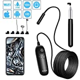 PiAEK Endoscope Wifi 1200P Endoscopique HD d'inspection Caméra IP68 Étanche Endoscope Câble Semi Rigide 10M Compatible avec Android IOS e Smartphone Tablette
