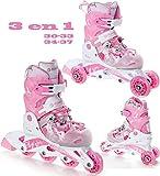 3in1 Kinder Inline Skates Triskates/Rollschuhe Raven Princess Größe: 30-33 (19,5cm-21,5cm)