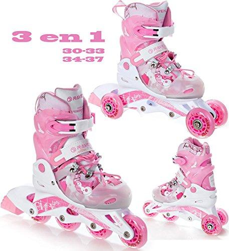 Raven 3in1 Kinder Inline Skates Triskates/Rollschuhe Princess Größe: 30-33 (19,5cm-21,5cm)