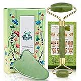 Jade Face Roller & Gua Sha Scraping Tool, 100% Real Natural Massage Roller, 2 in 1 Anti-Aging Face Roller Massager for Celulite, Cheeks Slimmer, Skin Tightening, Face Firming, Rejuvenate Skin (Green)