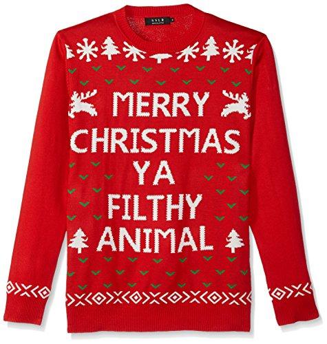 SSLR Herren Lustig Schnee Rundhals Ugly Weihnachten Strickjacke Pullover (Large, Rot) -