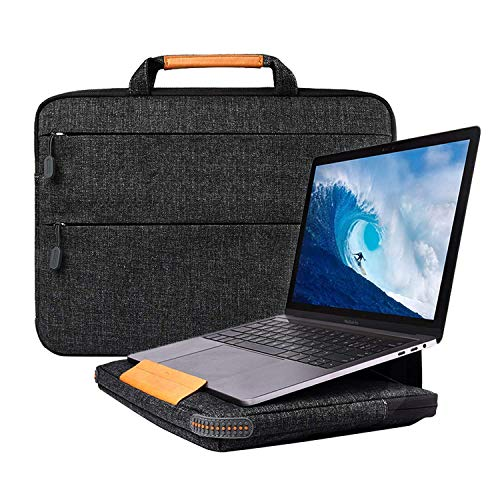 13.3 Zoll Laptop Hülle, Laptop Tasche Sleeve mit Laptopständer Funktion, Notebooktasche Hülle für 13 Zoll MacBook Pro Touch Bar/Air, Surface Laptop 2017, 12.9 Inch iPad Pro (Schwarz, 13,3 Zoll) -