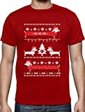 Weihnachtsgeschenk Männer Hundeliebhaber Dackel Ho Ho Ho T-Shirt XXX-Large Rot