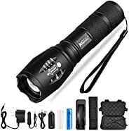 Ultra Bright LED Flashlight V6 LED lamp bead 5 Modes 10,000 Lumens Zoomable LED Torch with 18650 Battery&C