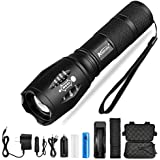 Ultra Bright LED Flashlight V6 LED lamp bead 5 Modes 10,000 Lumens Zoomable LED Torch with 18650 Battery&Charger