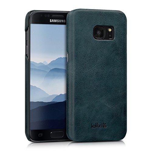 kalibri-Echtleder-Backcover-Hlle-fr-Samsung-Galaxy-S7-Leder-Case-Cover-Schutzhlle-in-Dunkelblau
