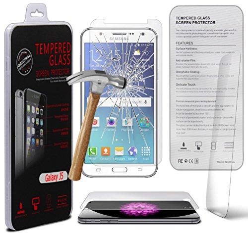 Samsung Galaxy J5 SM-J500F 0.33mm Tempered Glass Screen Protector Hartglas-Schutzcover - Explosions- & Splittersicher mit Microfasertuch von Gadget Giant® -