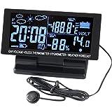 Pantalla LCD Eaglerich 5Brand 4en1 Digital termómetro del coche de 12V DC higrómetro de envío Higrotermógrafo pronóstico del tiempo libre de tensión Reloj