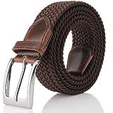 Fairwin Cintura Elastica Intrecciata per Uomo e Donna, Confortevole Cintura in Tessuto Elastico Stretch,per Jeans Pantaloni,Marrone, per la Vita 90-100 cm