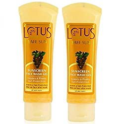 Lotus Herbals Safe Sun Sunscreen Face Wash Gel, 80g (Pack of 2)