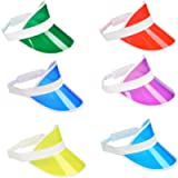 OFNMY Candy-Colored Sun Visor Hat for Men & Women - Pack of 6 Sunvisors Summer Premium PVC Sun Visor Hats, Sunvisors Hat…