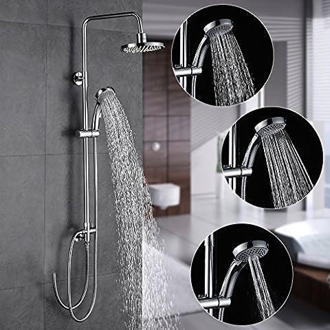 Auralum® Chrom Duschset Duscharmatur Kupfer Duschsystem mit Regendusche und Handbrause Ohne Wasserhahn
