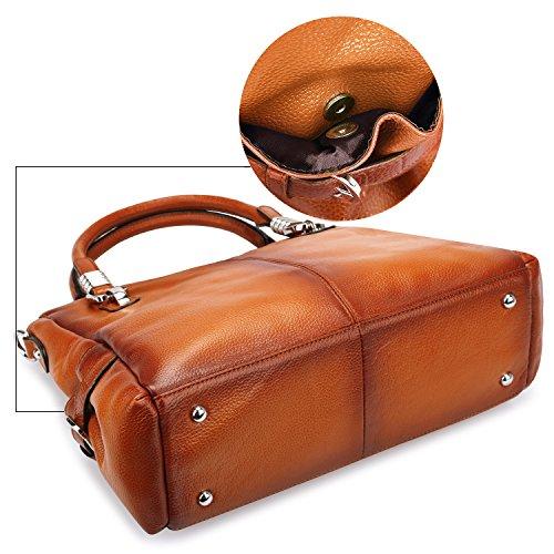 S-ZONE borse in vera borsa da donna e borse da viaggio in borsa per borse da donna in pelle traspirante borsa a tracolla (marrone) Marrone