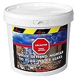 Mortier anti infiltrations eau ciment enduit prise rapide stop fuite béton colmatage Scellement drain réparation tuyau ARCASTOP - Gris - 5 Kg - ARCANE INDUSTRIES...