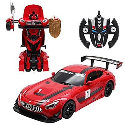 COSTWAY 2,4G 1:14 R / C Mercedes-Benz GT3 Transformator Roboter-Auto Ferngesteuert Transformers Auto & Robot verwandelbar 1:14RS von COSTWAY
