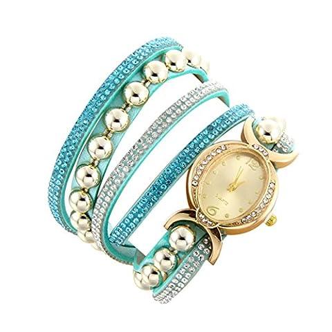 Minshao Mode Multi couches simili cuir Band Strass Perles Chaîne à quartz Bracelet montre-bracelet pour coffret cadeau pour femme bleu ciel